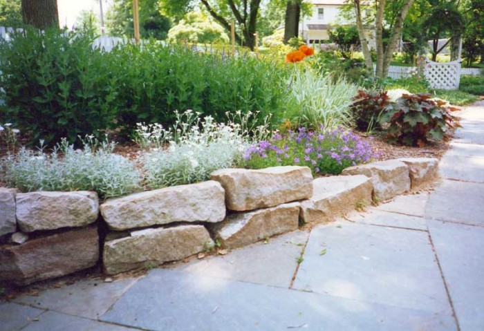 Stone wall with perennials in Haverford