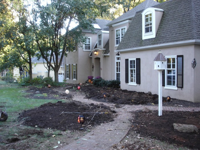 Main Line Formal Garden Design in Berwyn - Before