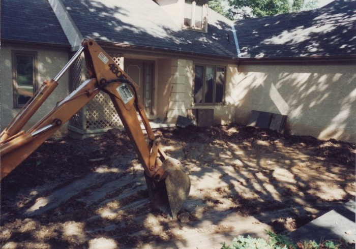 Flagstone Courtyard and Fountain in Haverford - Before