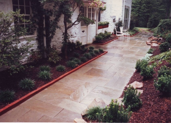 Landscaping Ideas - Flagstone Courtyard and Hillside Planting in Gladwyne - After