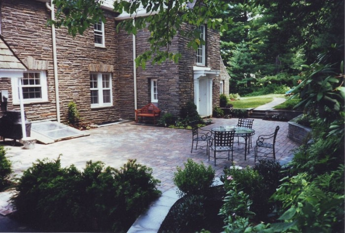 Flagstone Courtyard and Fountain in Haverford - After